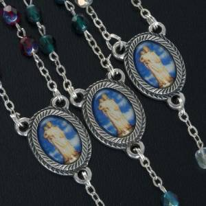 Rosary in glass with Our Lady of Gonare, red, white and green s2