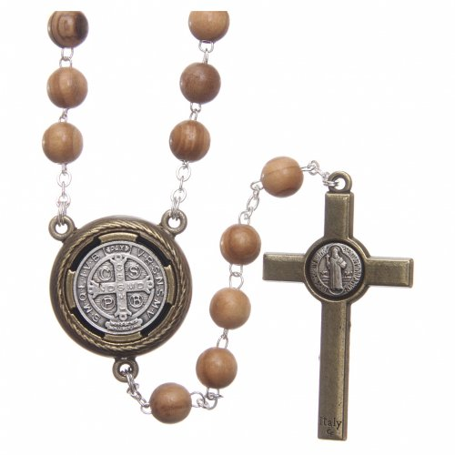 Rosary in light brown wood, talking center piece telling the prayer of Saint Benedict in ITALIAN 8 mm s2