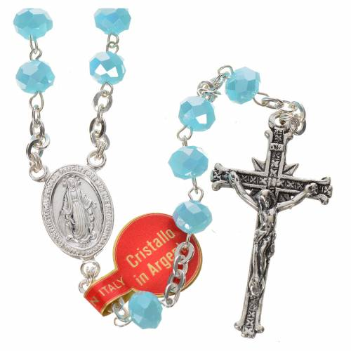 Rosary in opaque crystal and 800 silver, 6mm light blue s1