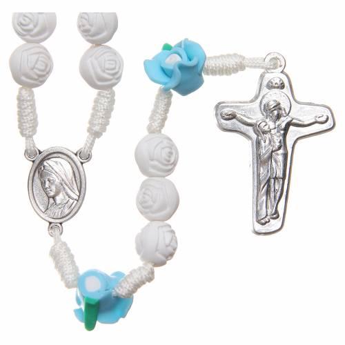 Rosary Medjugorje roses with cross, white & light blue s1