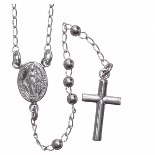 Rosary Necklace AMEN classic 3mm silver 925, Rhodium finish s1