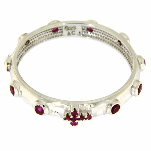 Rosary Ring AMEN rhodium-plated silver 925, red zircons s2