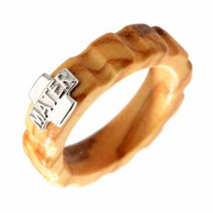 Prayer rings: Rosary ring in olive wood with silver 925 cross, MATER