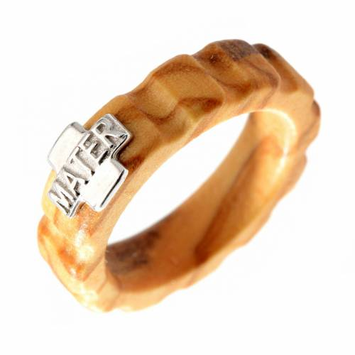Rosary ring in olive wood with silver 925 cross, MATER s1