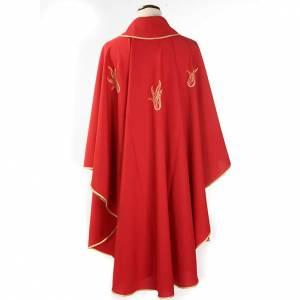 Messgewänder: Rote Kasel aus Polyester mit Heiligem Geist und Flammen