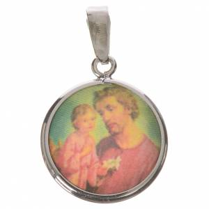 Round medal in silver, 18mm Saint Joseph s1
