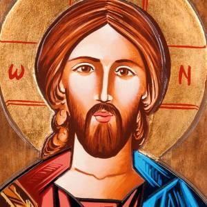 Handgemalte rumänische Ikonen: Rumänische Ikone Christus Pantokrator Hand gemalt