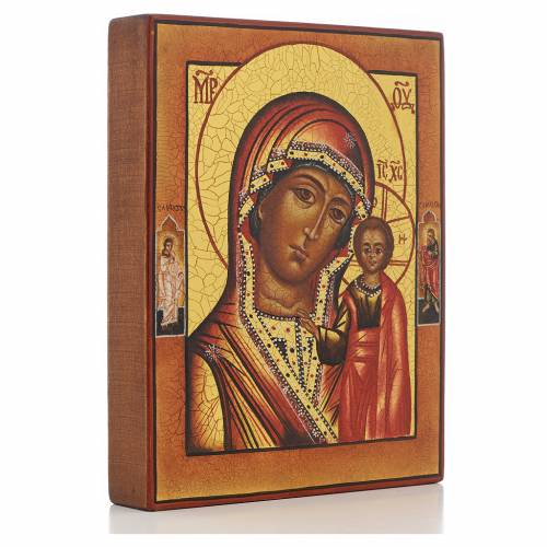 Russian painted icon, Our Lady of Kazan with 2 saints s2