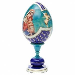 Handgemalte Russische Eier: Russiche Ei-Ikone Hoffnungsgottesmutter 20cm Decoupage blau