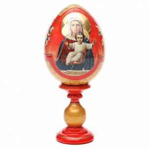 Handgemalte Russische Eier: Russiche Ei-Ikone Ich bin mit Dir 20cm Decoupage roten