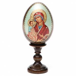 Handgemalte Russische Eier: Russische Ei-Ikone Gottesmutter mit drei Händen 13cm Decoupage