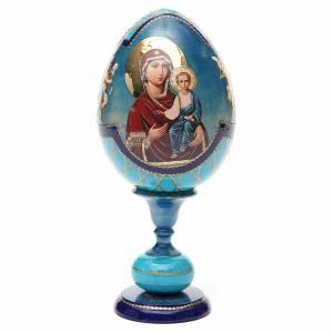 Handgemalte Russische Eier: Russische Ei-Ikone Gottesmutter von Smolensk 20cm Decoupage blau