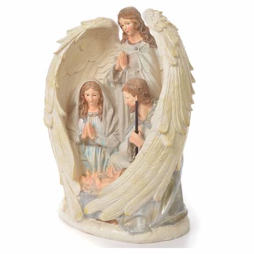 Sacra Famiglia con Angelo 31 cm resina fin. White s2