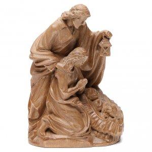 Natività: Sacra Famiglia gruppo legno Valgardena patinato