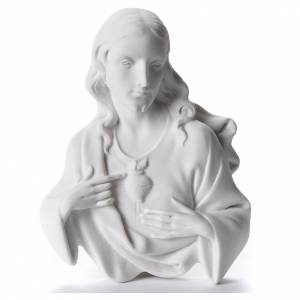 Funeral products: Sacred Heart of Jesus, 12 cm bas-relief in reconstituted carrara