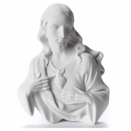Sacred Heart of Jesus, 12 cm bas-relief in reconstituted carrara s1
