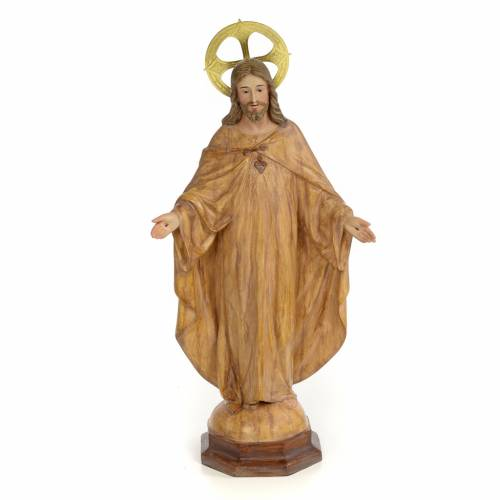 Sacred Heart of Jesus statue 50cm, wood paste, burnished decorat s1