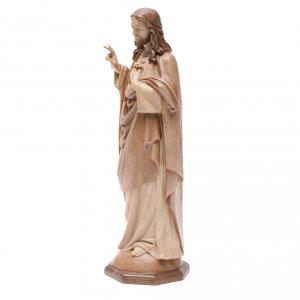 Sacred Heart of Jesus statue in multi-patinated Valgardena wood s2