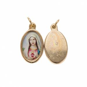 Sacred Heart of Mary medal in golden metal and resin 1.5x1cm s1