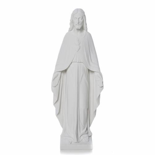Sacro Cuore di Gesù 36 cm marmo bianco s1