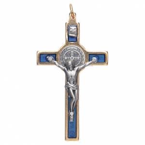 Saint Benedict crosses: Saint Benedict cross blue collier
