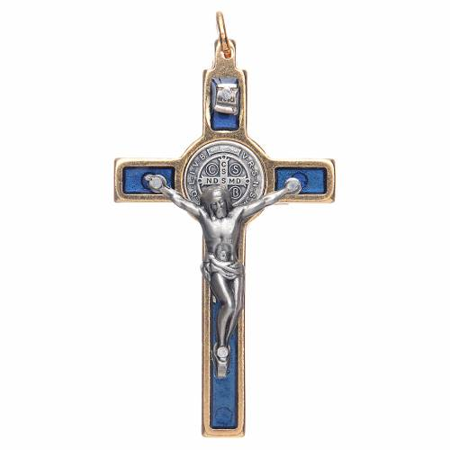 Saint Benedict cross blue collier s1