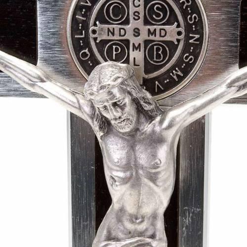 Saint Benedict cross with wood inlays 25x12.5 s2