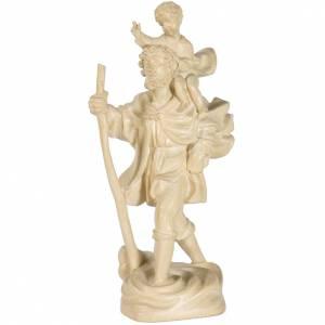 Saint Christophe avec enfant 22 cm bois naturel ciré Valgardena s1
