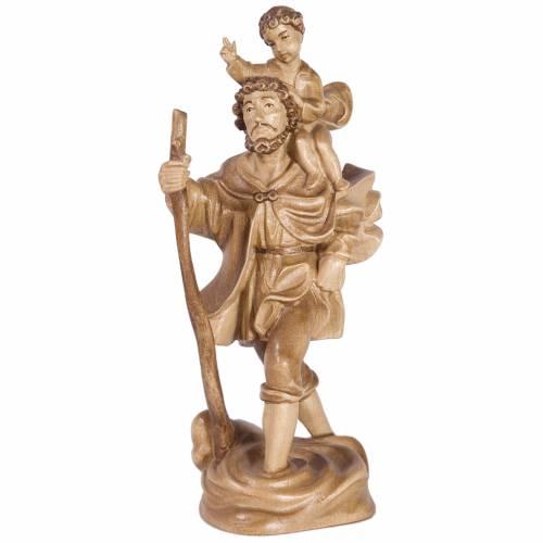 Saint Christophe avec enfant bois patiné multinuance Valgardena s1