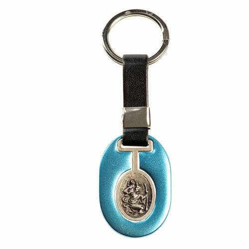 Saint Christopher keychain in light blue zamak and fake leather s1