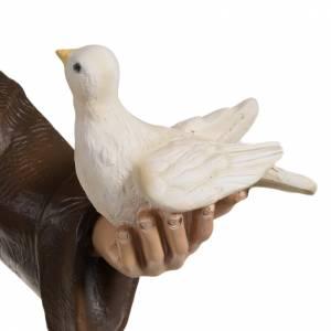 Saint François aux colombes marbre 80cm peint s3