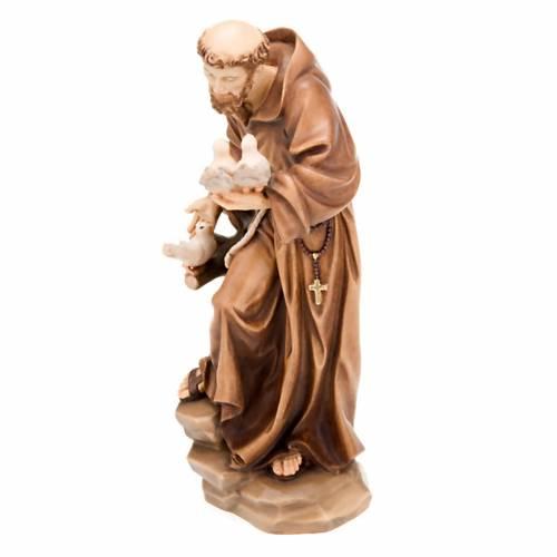 Saint François d'Assise avec colombes, statue bois s4