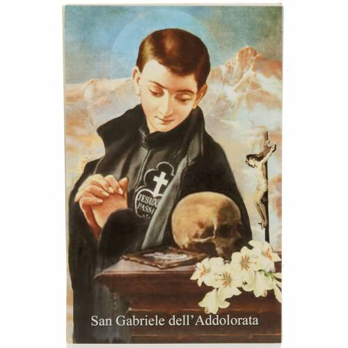 Saint Gabriel of Our Lady of Sorrows holy card with prayer s1