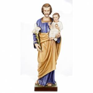 Reconstituted marble religious statues: Saint Joseph with Baby Jesus statue, 80cm in painted reconstitut