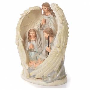 Sainte Famille avec Ange 31 cm résine fin. White s2