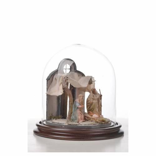 Sainte Famille terre cuite style arable 20x20cm cloche verre s7