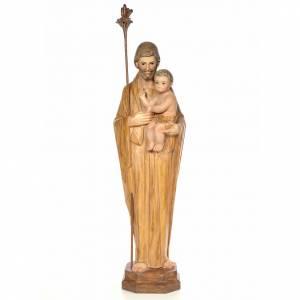 Imágenes de Madera Pintada: San José 100cm pasta de madera, dec. Bruñida