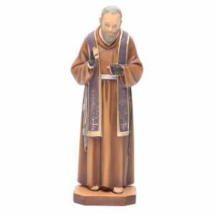 Imágenes de Madera Pintada: San Padre Pío de Pietrelcina madera pintada estola morada
