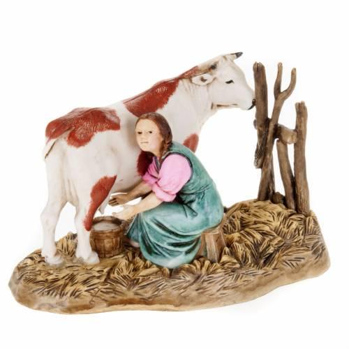 Santon crèche Noel Moranduzzo trayeuse et vache 10 cm s1
