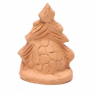 Sapin de Noël et Nativité terre cuite naturelle 7x5x4 cm s4