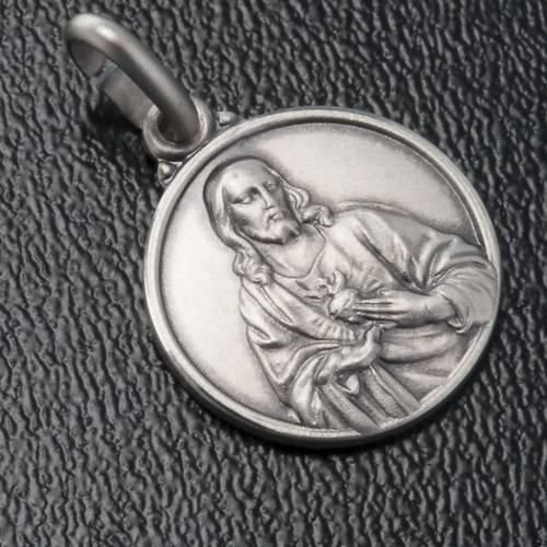 Scapolare medaglia Sacro Cuore argento 925 14mm s3