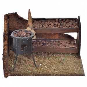Scena banco fornace e castagne 6x9x7 cm presepe napoletano s1