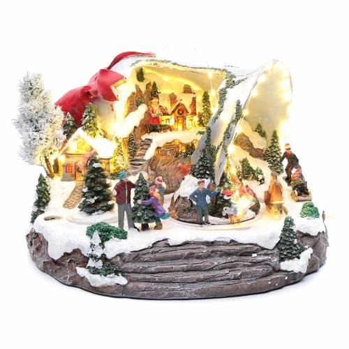 Scena campana di Natale 25x35x40 cm s1