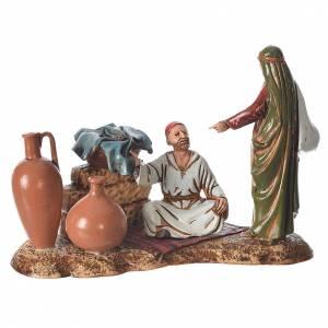Scene with characters at the Market, nativity figurine, 10cm Moranduzzo s1