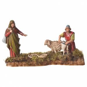 Scene with man shearing sheep, nativity figurines, 10cm Moranduzzo s1