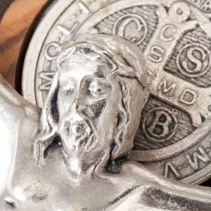 Benedikt Kreuze und Medaillen: Schmuck-Anhaenger Kreuz Heilig Benedictus Oliven-Holz geschnitzt
