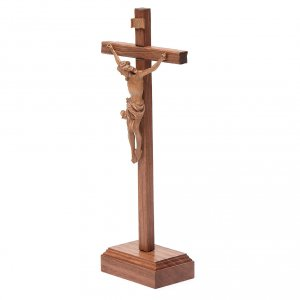 Sculpted table crucifix, Corpus model in patinated Valgardena wo s2