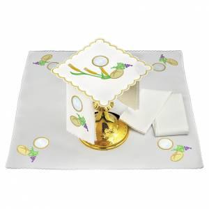 Servizio da altare lino pane uva spighe simbolo JHS s1
