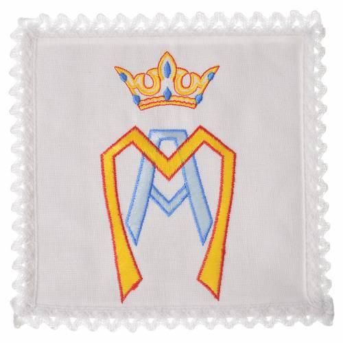 Servizio da mensa 100% lino simbolo mariano stilizzato s1