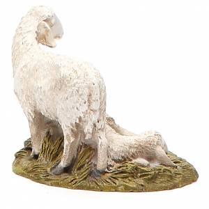 Set 2 moutons sur base résine peinte 10 cm gamme M. Landi s2